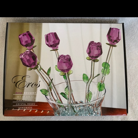 Eros Purple Glass Roses, 6- 13 inch steamed roses